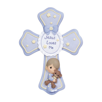 Precious Moments Boy With Teddy Cross Baby Milestones - Unisex
