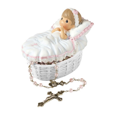 Precious Moments Set 2 Baby Girl Baptism Covered Box With Rosary Baby Milestones - Unisex