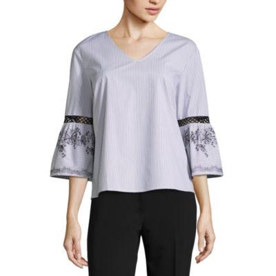 Liz Claiborne 3/4 Embroidered Sleeve V Neck Woven Stripe Shirt