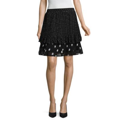 Worthington Dots Woven Pleated Skirt