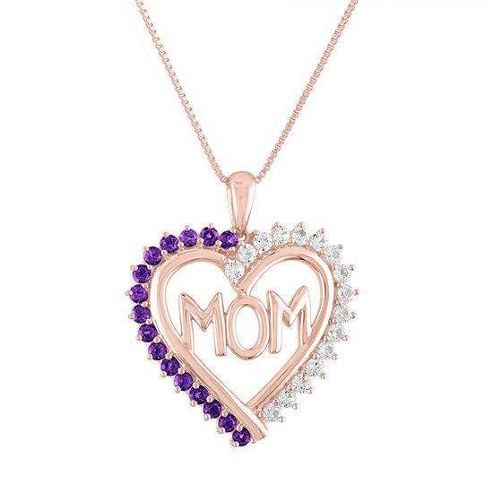 Womens Lab Created Purple Amethyst 14K Rose Gold Over Silver Heart Pendant