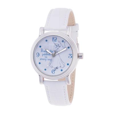 Disney Womens White Strap Watch-Wds000635