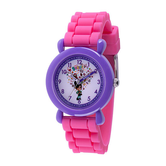 Disney Girls Pink Strap Watch-Wds000659