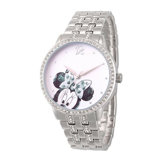 Disney Minnie Mouse Womens Silver Tone Bracelet Watch-Wds000672