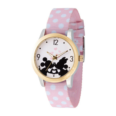 Disney Mickey Mouse Womens Pink Strap Watch-Wds000676
