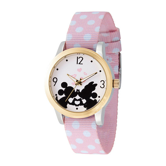 Mickey Mouse Womens Pink Strap Watch-Wds000676