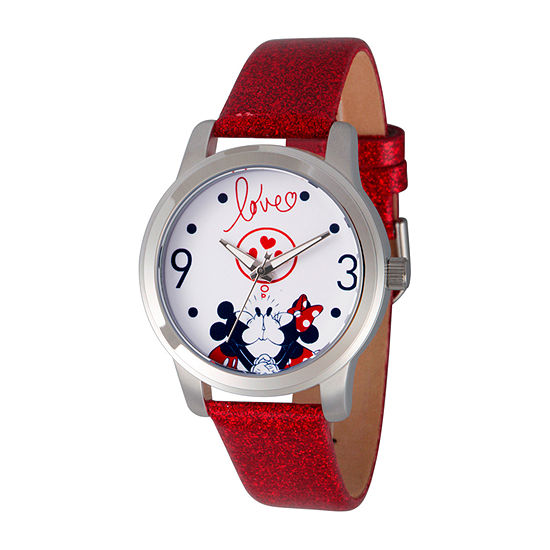 Disney Mickey Mouse Womens Red Strap Watch-Wds000679