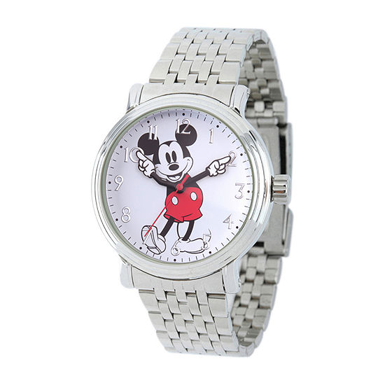 Disney Collection Mickey Mouse Mens Silver Tone Stainless Steel Bracelet Watch-Wds000681