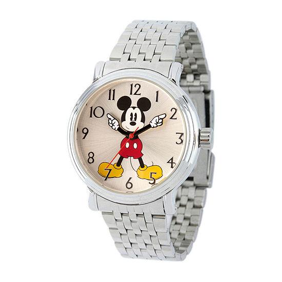 Disney Mickey Mouse Womens Silver Tone Bracelet Watch Wds000684