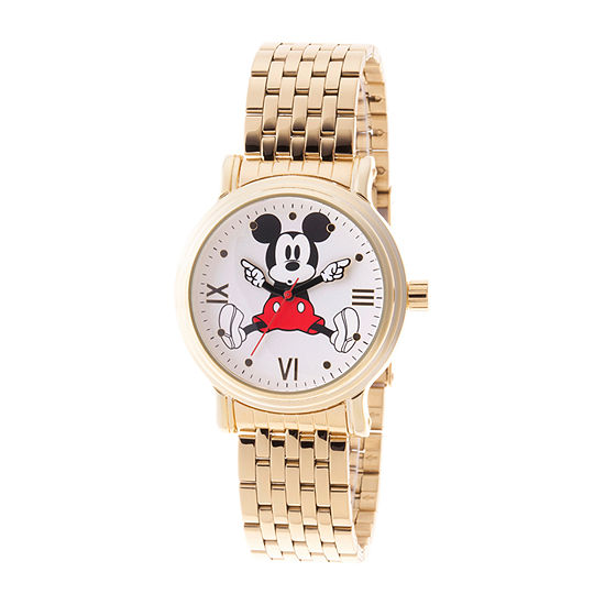 Disney Collection Mickey Mouse Womens Gold Tone Stainless Steel Bracelet Watch-Wds000688