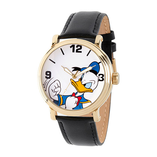 Disney Mens Black Leather Bracelet Watch-Wds000690