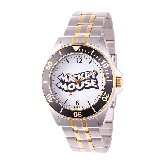 Disney Mickey Mouse Mens Two Tone Bracelet Watch-Wds000695