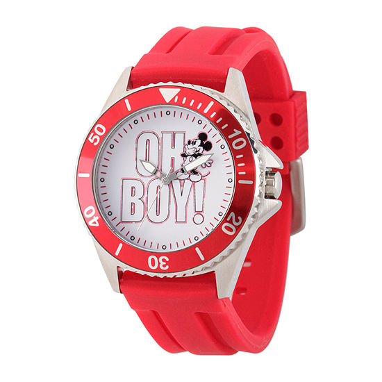 Disney Mickey Mouse Mens Red Strap Watch-Wds000696