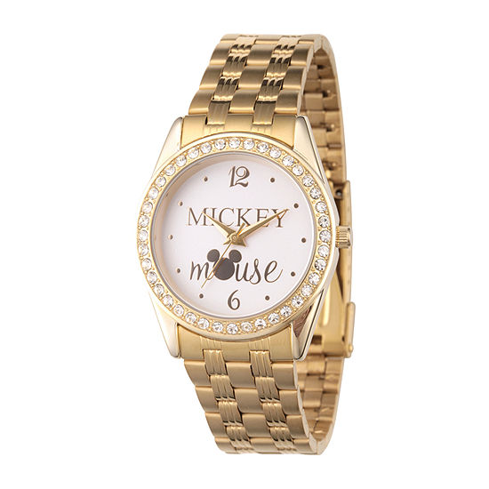 Disney Mickey Mouse Womens Gold Tone Stainless Steel Bracelet Watch-Wds000698