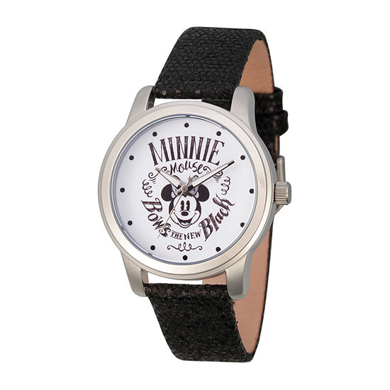 Minnie Mouse Womens Black Leather Strap Watch-Wds000669