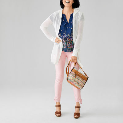 St John's Bay Hooded Cardigan, Notch Blouse and Tie Ankle Jean