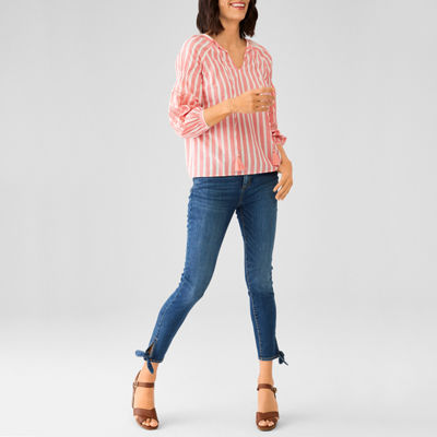 St John's Bay Embroidered Blouse and Tie Ankle Jean