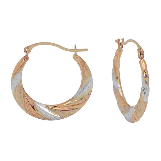 14K Tri-Color Gold 20mm Hoop Earrings