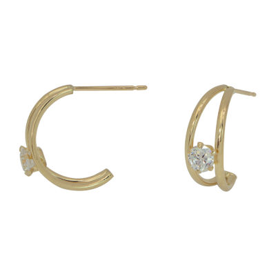 Lab Created White Cubic Zirconia 14K Gold 16mm Hoop Earrings