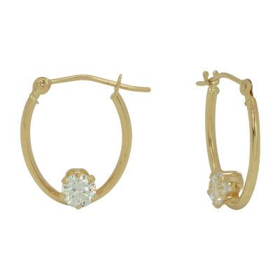 Lab Created White Cubic Zirconia 14K Gold 17mm Hoop Earrings