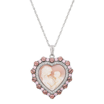 Womens Pink Crystal Sterling Silver Heart Pendant