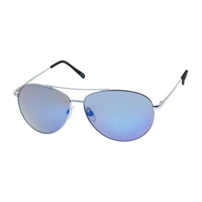 JF J.Ferrar® Silver Wrap Aviator Sunglasses with Blue Mirror Lens