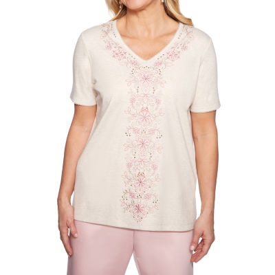 Alfred Dunner Society Page-Womens V Neck Short Sleeve T-Shirt Petite