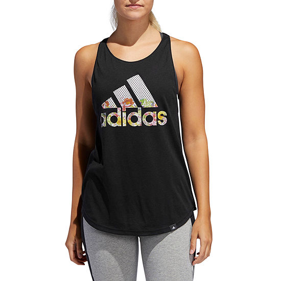 adidas Floral Tank Womens Round Neck Sleeveless Tank Top