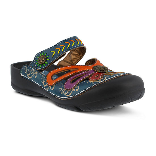 L'Artiste Womens Copa Clogs Hook and Loop Closed Toe