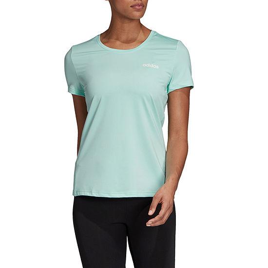 adidas Logo Chest Crew Tee Womens Round Neck Short Sleeve Graphic T-Shirt