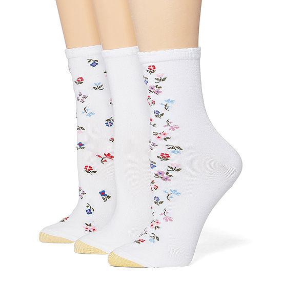 Gold Toe 3 Pr Casual Spring '20 3 Pair Crew Socks Womens