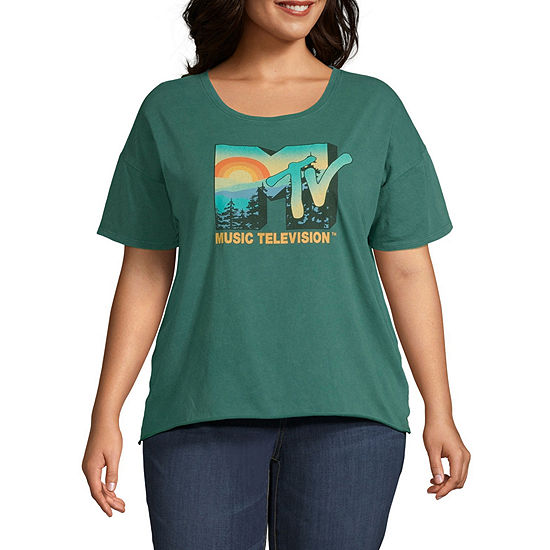 Juniors Plus-Womens Round Neck Short Sleeve T-Shirt