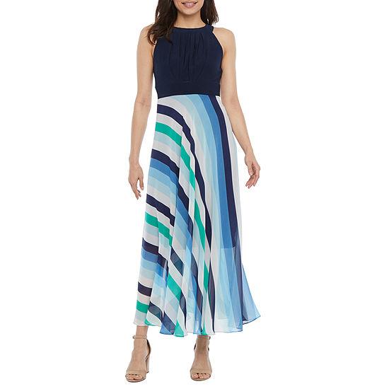 Studio 1-Petite Sleeveless Striped Maxi Dress