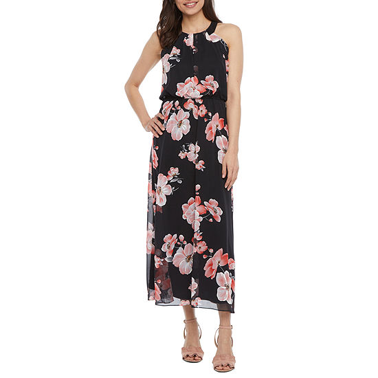Robbie Bee-Petite Sleeveless Floral Puff Print Maxi Dress