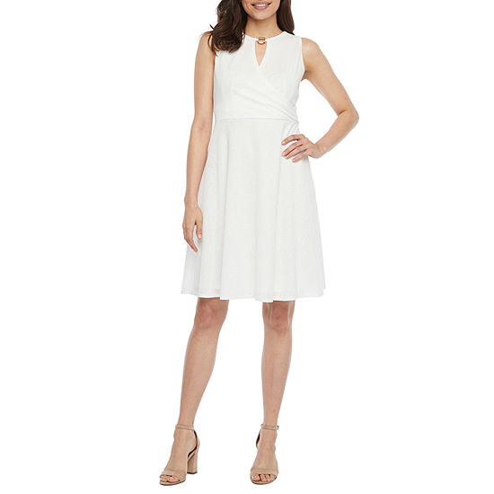 Studio 1-Petite Sleeveless Textured Fit & Flare Dress
