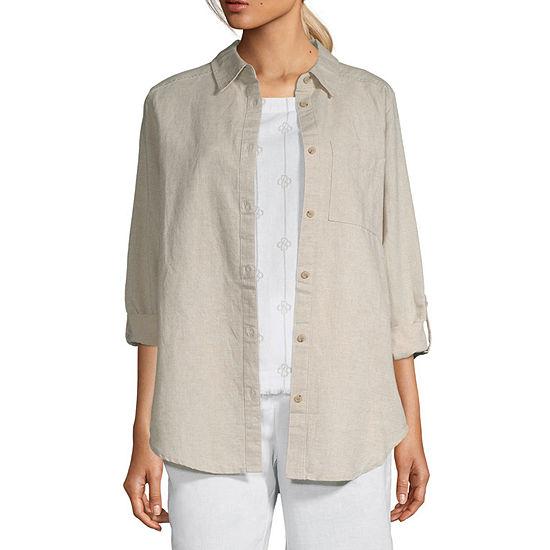 Liz Claiborne Long Sleeve Linen Tunic - Tall