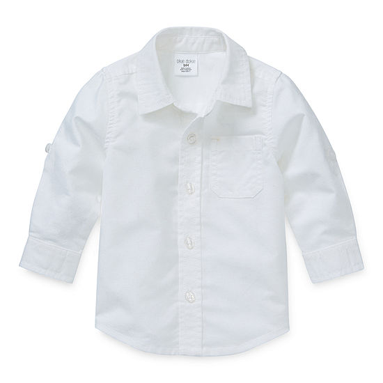 Okie Dokie Baby Boys Long Sleeve Button-Front Shirt