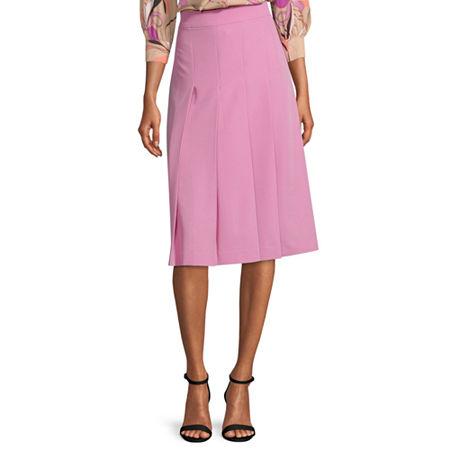 1920s Skirt History Petite - Worthington Womens High Waisted Midi Pleated Skirt $24.99 AT vintagedancer.com