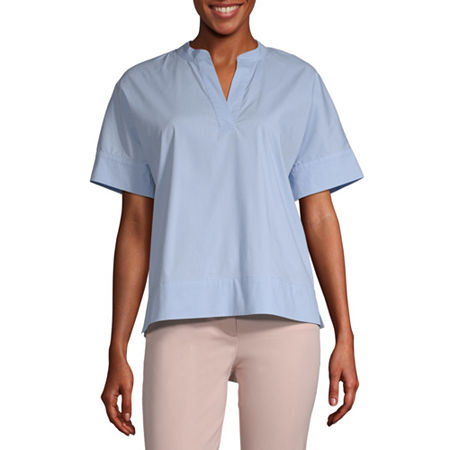 Worthington Womens Split Crew Neck Short Sleeve Poplin Blouse, Medium , Blue