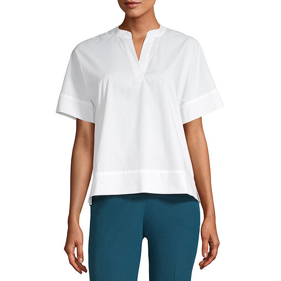 Worthington Womens Y Neck Short Sleeve Poplin Blouse