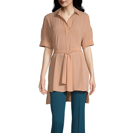 Worthington Womens Short Sleeve Tunic Top, X-small , Orange