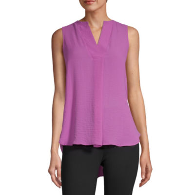 Worthington Womens Y Neck Sleeveless Tunic Top