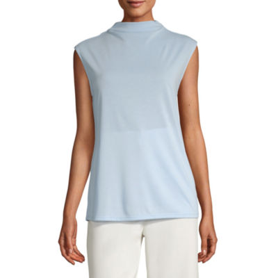 Worthington Womens Sleeveless Mock Neck Top