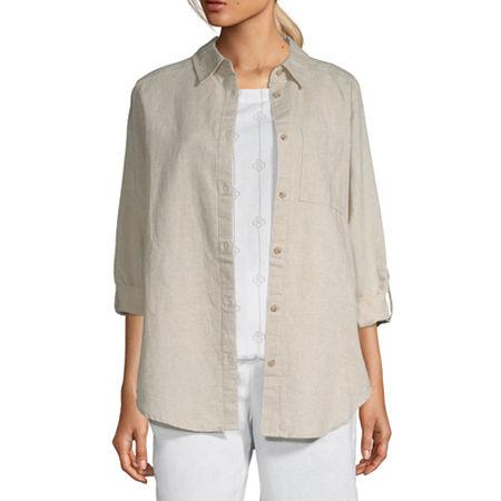 Liz Claiborne Womens Long Sleeve Tunic Top, Medium , Beige