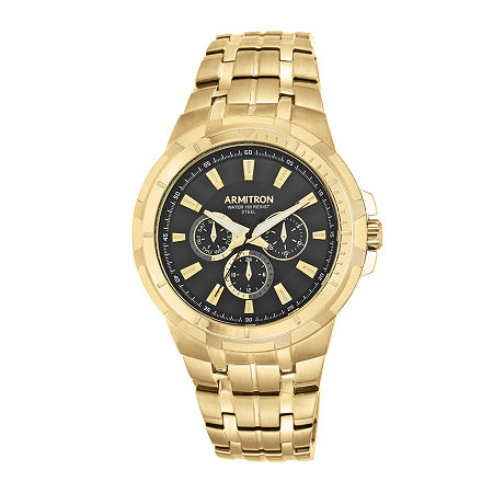 Armitron Men's 5144 Black Dial Gold-Tone Stainless Steel Watch, One Size , Goldtone