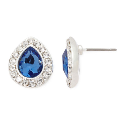 Monet® Blue and Silver-Tone Button Earrings