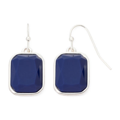 Liz Claiborne® Blue Stone Silver-Tone Drop Earrings