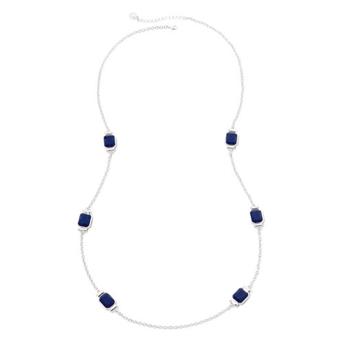 Liz Claiborne® Blue Stone and Silver-Tone Station Necklace