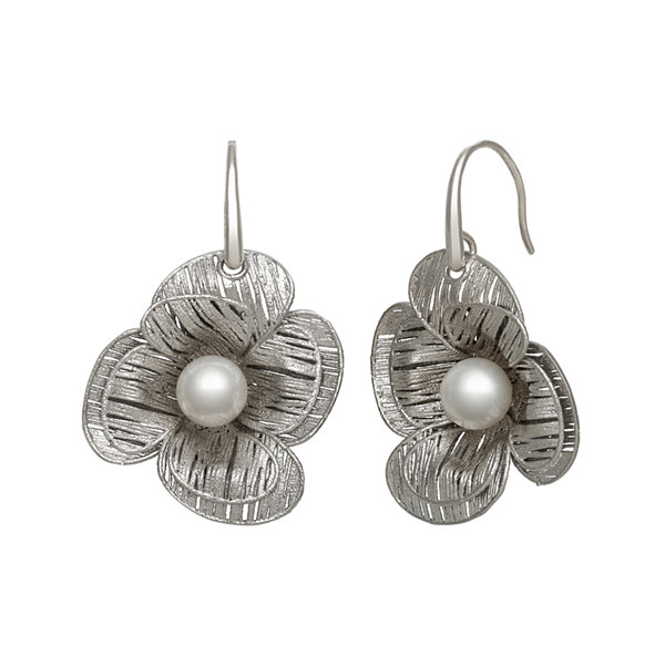Cultured Freshwater Pearl Sterling Silver Flower Earring
