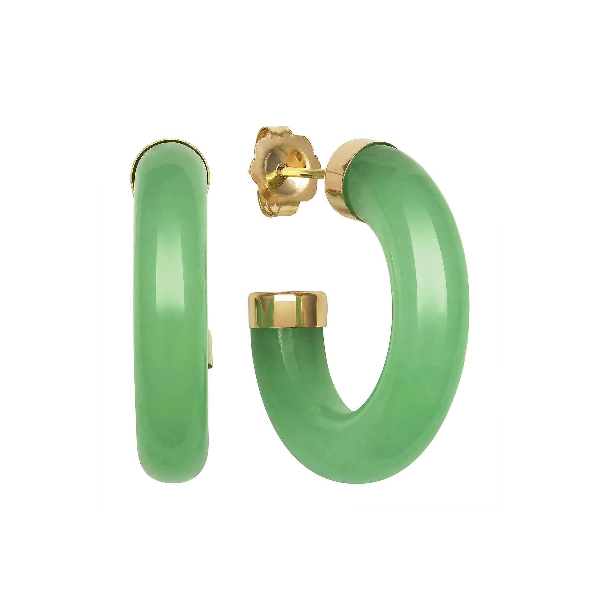 Genuine Jade 14K Yellow Gold Hoop Earrings